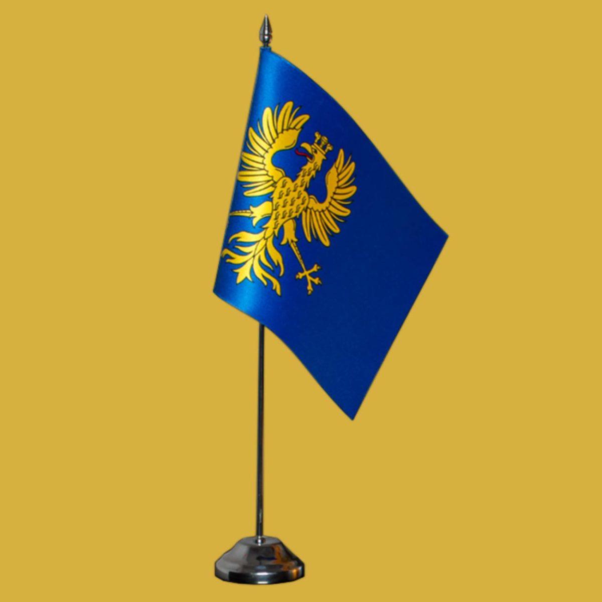 (Polski) Biurkowa satynowa flaga Księstwa Cieszyńskiego